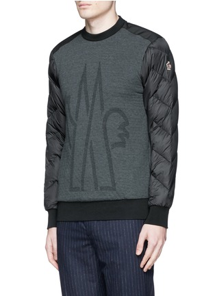 Front View - Click To Enlarge - Moncler Grenoble - Quilted down sleeve logo sweatshirt