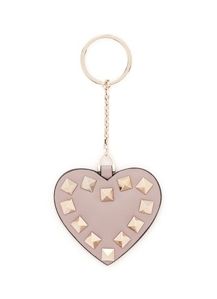 Main View - Click To Enlarge - VALENTINO - 'Rockstud' leather heart keyring