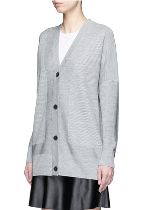 Front View - Click To Enlarge - Vince - Wool-silk waffle knit boyfriend cardigan