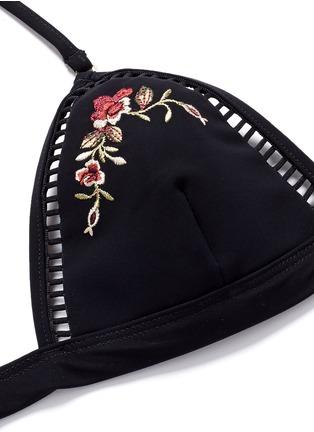Detail View - Click To Enlarge - Zimmermann - 'Sakura' floral embroidery bikini top