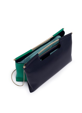 Detail View - Click To Enlarge - DELPOZO - 'Gret' colourblock leather satchel clutch