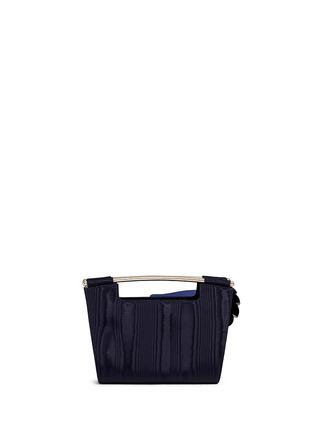 Back View - Click To Enlarge - DELPOZO - 'Mini Gret' woodgrain effect floral appliqué clutch