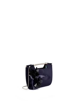 Front View - Click To Enlarge - DELPOZO - 'Mini Gret' woodgrain effect floral appliqué clutch