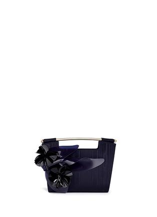 Main View - Click To Enlarge - DELPOZO - 'Mini Gret' woodgrain effect floral appliqué clutch