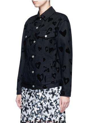 Front View - Click To Enlarge - ÊTRE CÉCILE - 'Heart' flocked velvet denim jacket