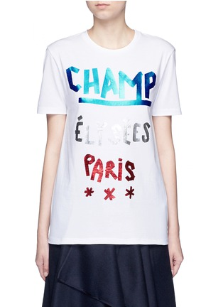 Main View - Click To Enlarge - Etre Cecile  - 'Champ Élysées' foil slogan print T-shirt