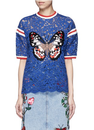 Main View - Click To Enlarge - Gucci - Stripe trim butterfly embroidery lace T-shirt