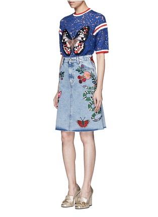 Figure View - Click To Enlarge - Gucci - Stripe trim butterfly embroidery lace T-shirt