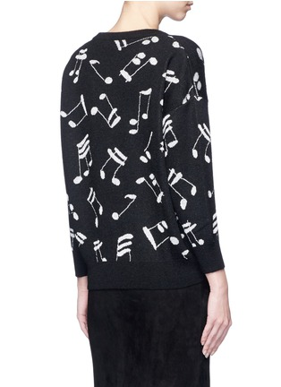 Back View - Click To Enlarge - SAINT LAURENT - Musical note intarsia mohair blend sweater