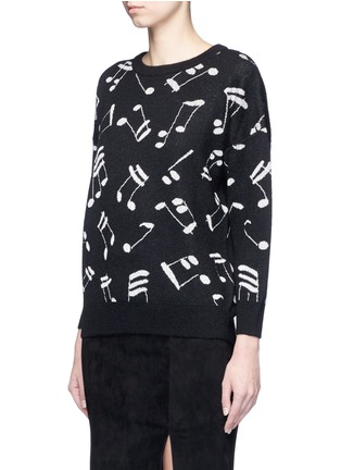 Front View - Click To Enlarge - SAINT LAURENT - Musical note intarsia mohair blend sweater