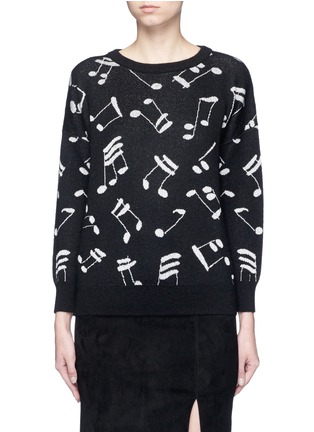 Main View - Click To Enlarge - SAINT LAURENT - Musical note intarsia mohair blend sweater