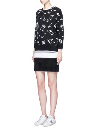 Figure View - Click To Enlarge - SAINT LAURENT - Musical note intarsia mohair blend sweater