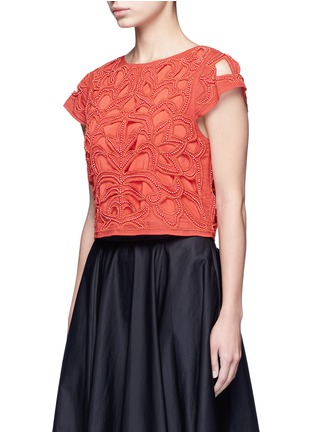 Front View - Click To Enlarge - alice + olivia - Bead embellished floral cropped top