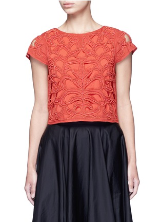 Main View - Click To Enlarge - alice + olivia - Bead embellished floral cropped top