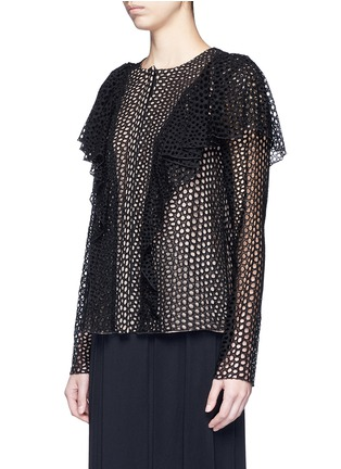 Front View - Click To Enlarge - Lanvin - Eyelet broderie anglaise ruffle top