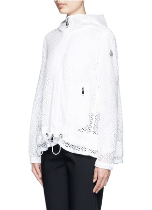 Front View - Click To Enlarge - Moncler - 'ROMBOU' SANGALLO LACE A-LINE HOOD JACKET