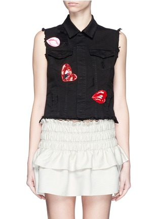 Main View - Click To Enlarge - Giamba - Mix lip appliqué sleeveless denim vest