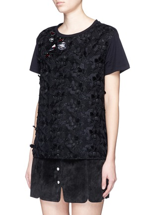 Front View - Click To Enlarge - Giamba - Lip appliqué floral jacquard front T-shirt