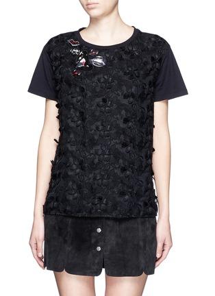 Main View - Click To Enlarge - Giamba - Lip appliqué floral jacquard front T-shirt