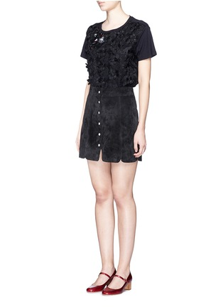 Figure View - Click To Enlarge - Giamba - Lip appliqué floral jacquard front T-shirt
