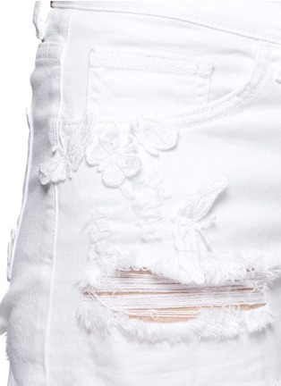 Detail View - Click To Enlarge - Giamba - Butterfly appliqué ripped fray denim shorts