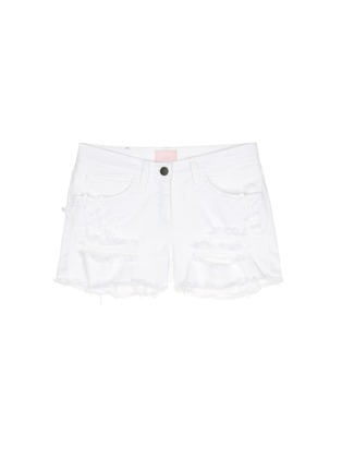 Main View - Click To Enlarge - Giamba - Butterfly appliqué ripped fray denim shorts