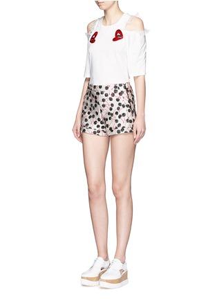 Figure View - Click To Enlarge - Giamba - Sequin lip appliqué cold shoulder T-shirt