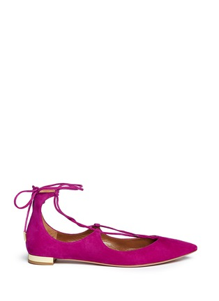 Main View - Click To Enlarge - Aquazzura - 'Christy' suede lace-up skimmer flats