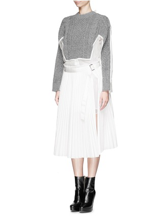 Front View - Click To Enlarge - sacai - Cable knit panel poplin shirt with plissé chiffon wrap skirt