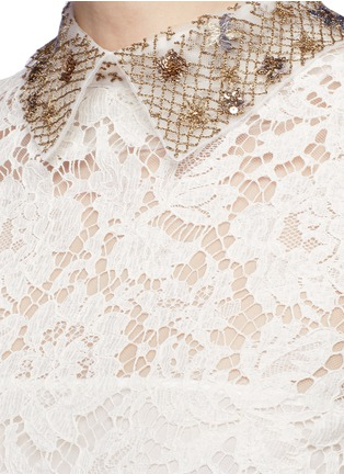 Detail View - Click To Enlarge - Valentino - Detachable embellished collar floral lace dress