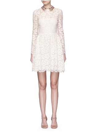 Main View - Click To Enlarge - Valentino - Detachable embellished collar floral lace dress
