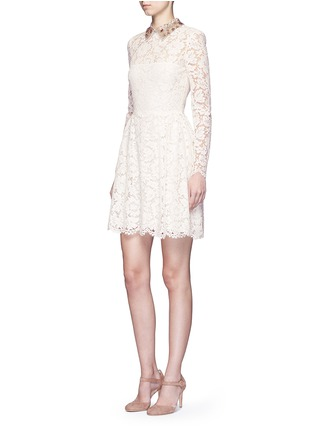 Figure View - Click To Enlarge - Valentino - Detachable embellished collar floral lace dress