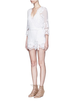 Front View - Click To Enlarge - MIGUELINA - 'Greta' scalloped lace rompers