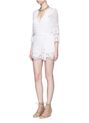 Figure View - Click To Enlarge - MIGUELINA - 'Greta' scalloped lace rompers