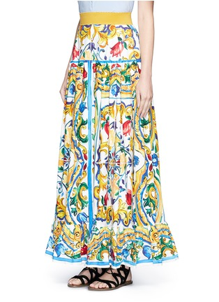 Front View - Click To Enlarge - Dolce & Gabbana - Maiolica print poplin maxi skirt