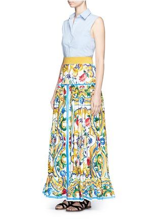 Figure View - Click To Enlarge - Dolce & Gabbana - Maiolica print poplin maxi skirt