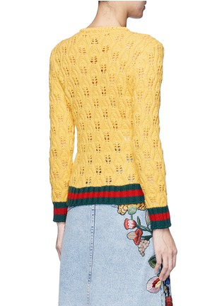 Back View - Click To Enlarge - Gucci - Floral intarsia crochet knit cardigan