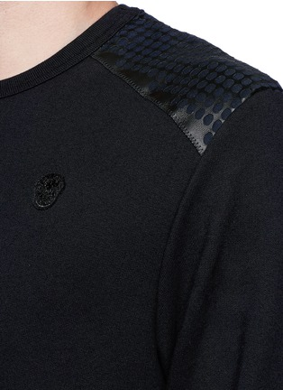 Detail View - Click To Enlarge - Alexander McQueen - Perforated leather patch sweatshirt