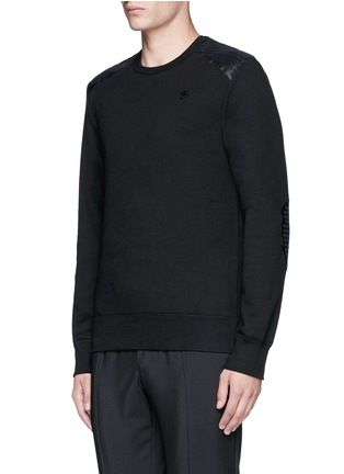 Front View - Click To Enlarge - Alexander McQueen - Perforated leather patch sweatshirt