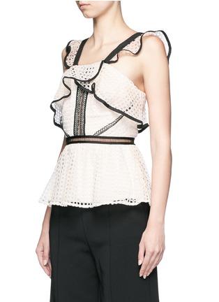 Front View - Click To Enlarge - self-portrait - Contrast trim geometric guipure lace peplum top