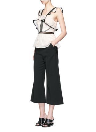 Figure View - Click To Enlarge - self-portrait - Contrast trim geometric guipure lace peplum top