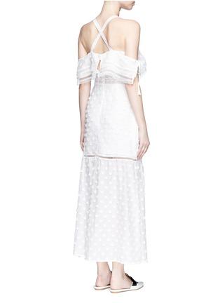 Back View - Click To Enlarge - self-portrait - Daisy appliqué cold shoulder maxi dress