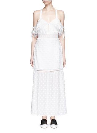 Main View - Click To Enlarge - self-portrait - Daisy appliqué cold shoulder maxi dress
