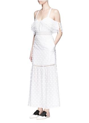 Figure View - Click To Enlarge - self-portrait - Daisy appliqué cold shoulder maxi dress