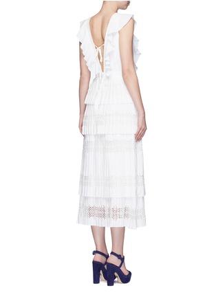 Back View - Click To Enlarge - SELF-PORTRAIT - 'Victoria' broderie anglaise trim plissé pleat tier dress