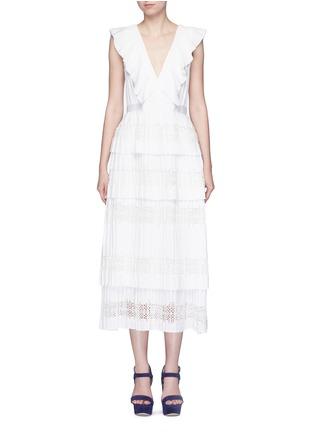 Main View - Click To Enlarge - SELF-PORTRAIT - 'Victoria' broderie anglaise trim plissé pleat tier dress