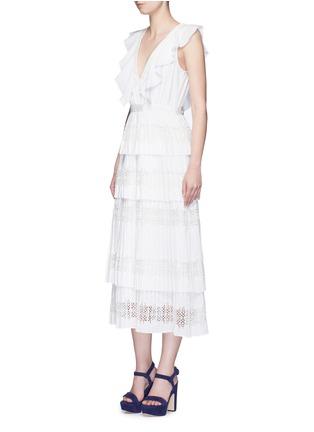 Figure View - Click To Enlarge - SELF-PORTRAIT - 'Victoria' broderie anglaise trim plissé pleat tier dress