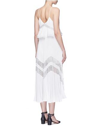 Back View - Click To Enlarge - self-portrait - 'Amelia' lace insert peplum waist pleat dress