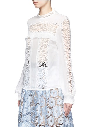 Front View - Click To Enlarge - SELF-PORTRAIT - Balloon sleeve guipure lace panel blouse