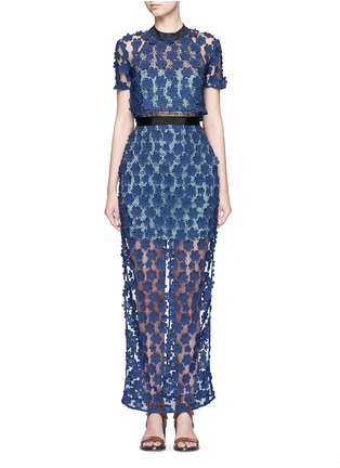 Main View - Click To Enlarge - self-portrait - '60's Overlay' floral lace maxi dress